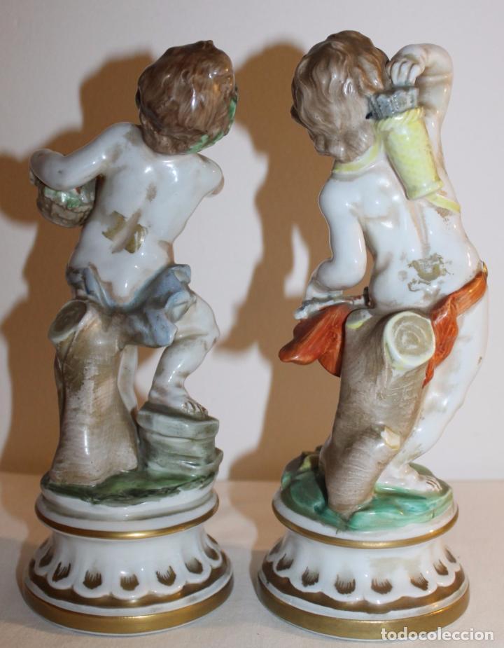 Antigüedades: PAREJA DE ÁNGELES EN PORCELANA ESMALTADA - CH HISPANIA MANISES - MEDIADOS SIGLO XX - Foto 7 - 96262903