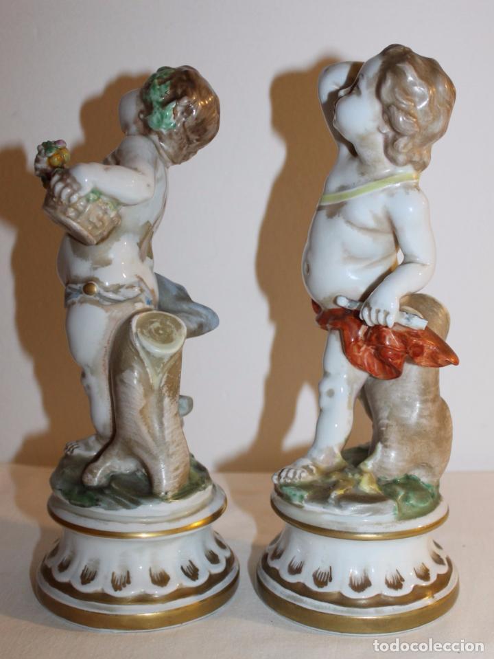 Antigüedades: PAREJA DE ÁNGELES EN PORCELANA ESMALTADA - CH HISPANIA MANISES - MEDIADOS SIGLO XX - Foto 8 - 96262903