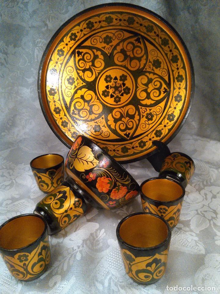 Antigüedades: CONJUNTO DE SEIS VASITOS, CUENCO Y BANDEJA CIRCULAR. LACA RUSA PINTADA A MANO. RUSIA. - Foto 2 - 96265475