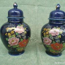 Antigüedades: ANTIGUA PAREJA DE JARRONES JAPONESES DE PORCELANA SATSUMA JAPAN. Lote 96298447