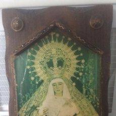 Antigüedades: ANTIGUO ESTANDARTE EN MADERA VIRGEN ESPERANZA DE TRIANA. Lote 96392327