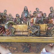 Antigüedades: ULTIMA CENA DE JESUS Y PEANA EN ESCAYOLA. Lote 96400335