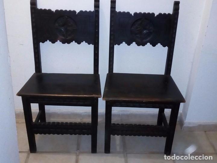 Antigüedades: Pareja sillas castellanas - Foto 5 - 96559491