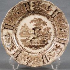 Antigüedades: PLATO OCRE LLANO LOZA REAL FÁBRICA DE SARGADELOS TERCERA ÉPOCA SERIE GÓNDOLA SIGLO XIX. Lote 96602803