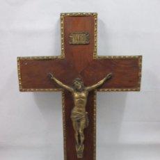Antigüedades: A-340/ CRUCIFIJO RELIGIOSO EN LATON - MUY RARO! 50 X 29 X 5 CM. Lote 96604271