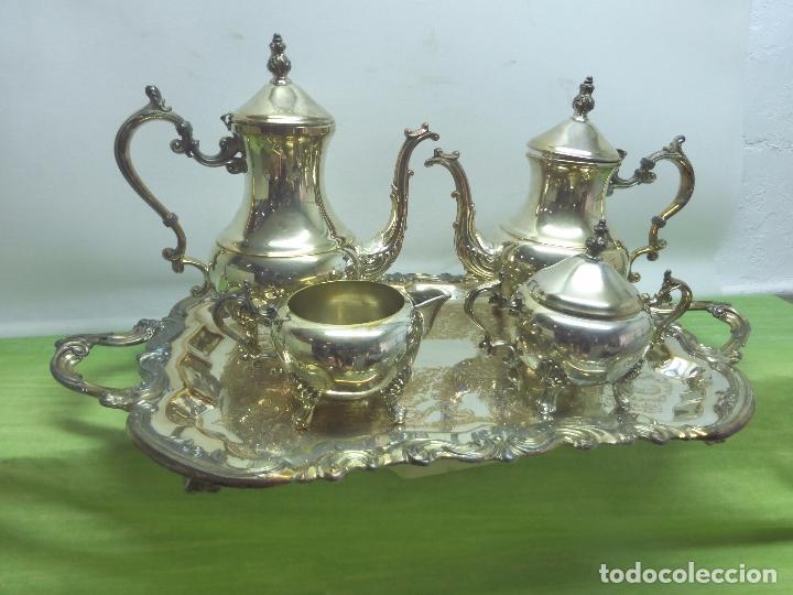 Antigüedades: ANTIGUO Y ELEGANTE JUEGO DE TÉ o CAFÉ ORIGINAL DE F. B. ROGERS SILVER CO. - TRADE MARK 1883 - Foto 4 - 96615135