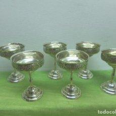 Antigüedades: ANTIGUO Y ORIGINAL JUEGO DE 6 COPAS. LABRADO CON MOTIVOS FLORALES. SELLO EN LA BASE. 12,5 CM ALTURA. Lote 96616455