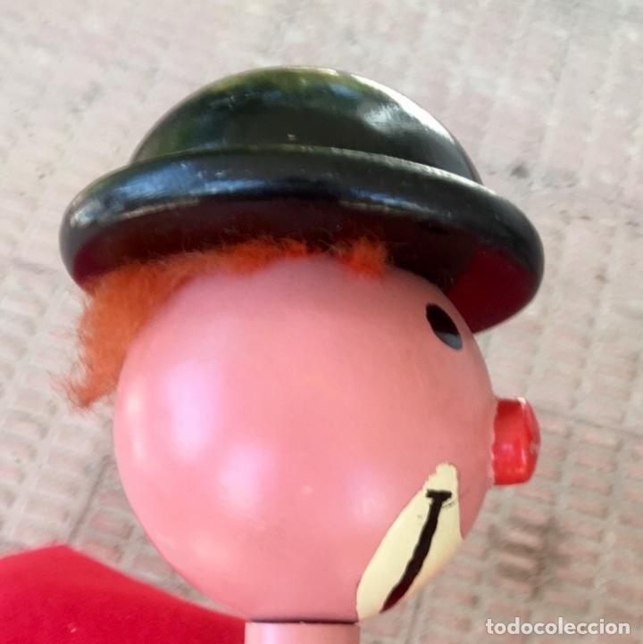 Antigüedades: Payaso y soldado artesanales 1950 calzadores pintados a mano circo colores vivo decoracion infantil - Foto 27 - 96676699