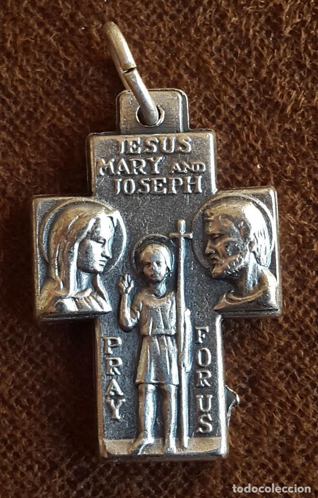 Antigüedades: DOBLE MEDALLA .SAN CRISTOBAL , JESÚS MARÍA Y JOSE. NOMBRES EN INGLES. - Foto 2 - 96784711