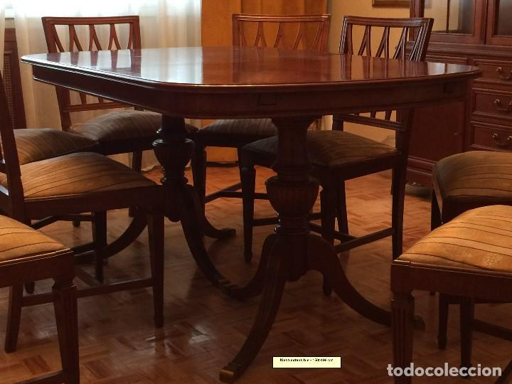 MESA DE COMEDOR Y 8 SILLAS A JUEGO (Antigüedades - Muebles Antiguos - Mesas Antiguas)