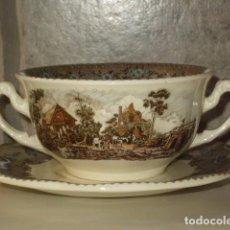 Antigüedades: TAZA CHOCOLATERA O CONSOME CON PLATO LA CARTUJA PICKMAN. VIEJO MOLINO. Lote 96851447