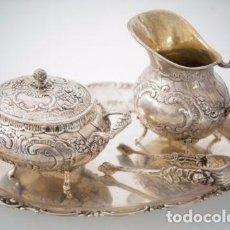 Antigüedades: JUEGO DE LECHERA, AZUCARERA Y BANDEJA EN PLATA 800 DE FINALES DEL SIGLO XIX. Lote 96851963