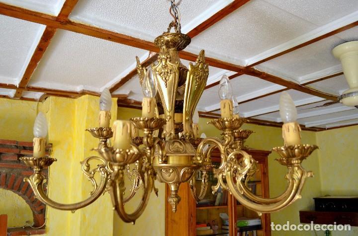 LAMPARA DE BRONCE TIPO ARAÑA (Antigüedades - Iluminación - Lámparas Antiguas)