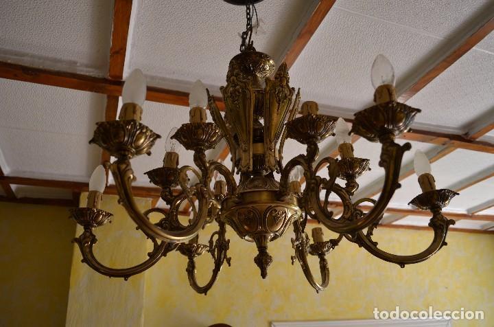 Antigüedades: Lampara de bronce tipo araña - Foto 2 - 96905099