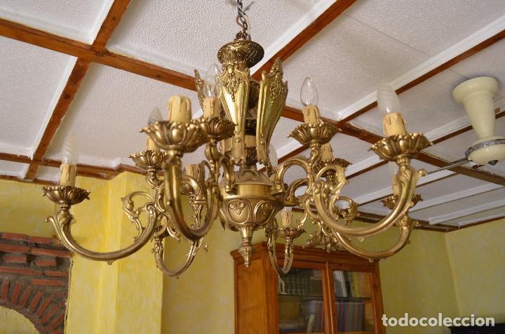 Antigüedades: Lampara de bronce tipo araña - Foto 3 - 96905099