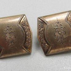 Antigüedades: GEMELOS DE METAL SOBREDORADO ALFONSINOS. FIN SIGLO XIX. Lote 96935287