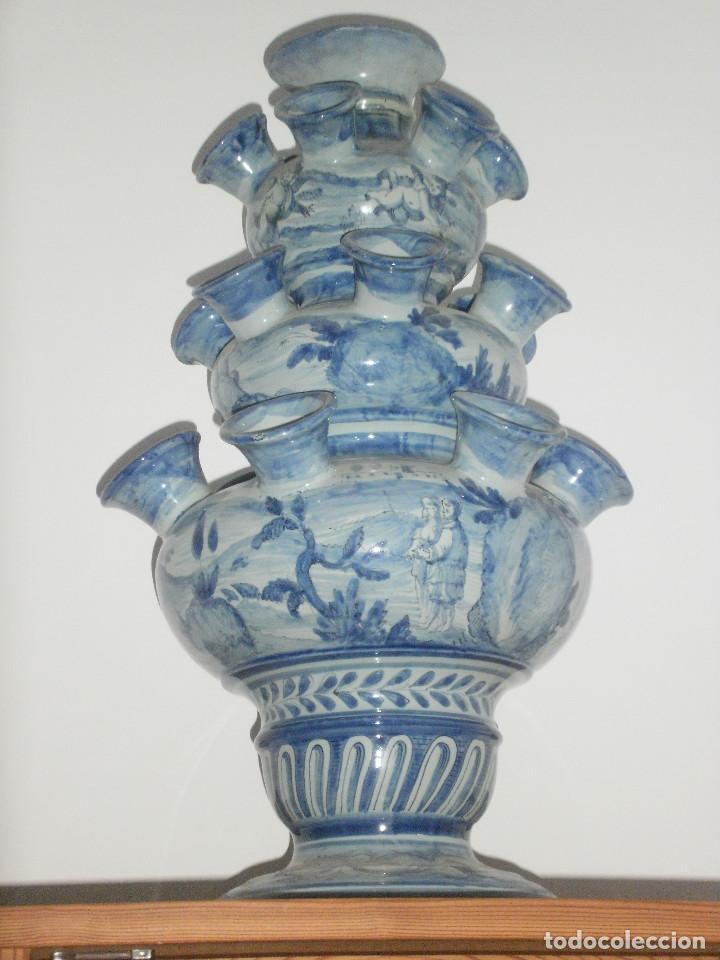 JARRÓN FLORERO. (Antigüedades - Porcelana y Cerámica - Holandesa - Delft)