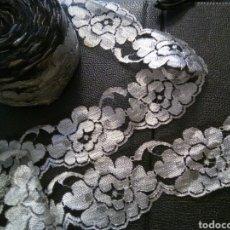 Antigüedades: * ANTIGUO BORDADO SOBRE TUL PARA TERMINACIONES 41 M. Lote 96990655