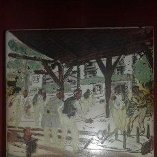 Antigüedades: MUY ANTIGUO AZULEJO DE ALCORA CON OBRA JOSE ARRUE PINTADO A MANO AÑOS 40 FIRMA ILEGIBLE PAIS VASCO. Lote 97009163