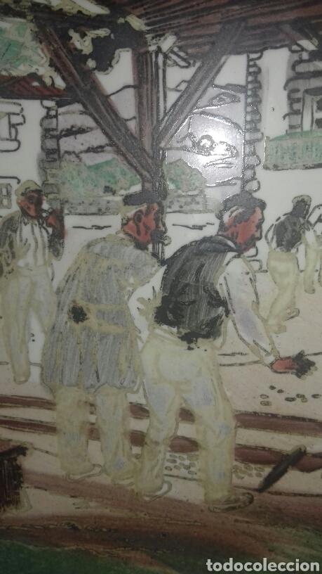 Antigüedades: Muy antiguo azulejo con obra JOSE ARRUE Pintado a mano Años 40 Firma ilegible Pais Vasco - Foto 2 - 97009163