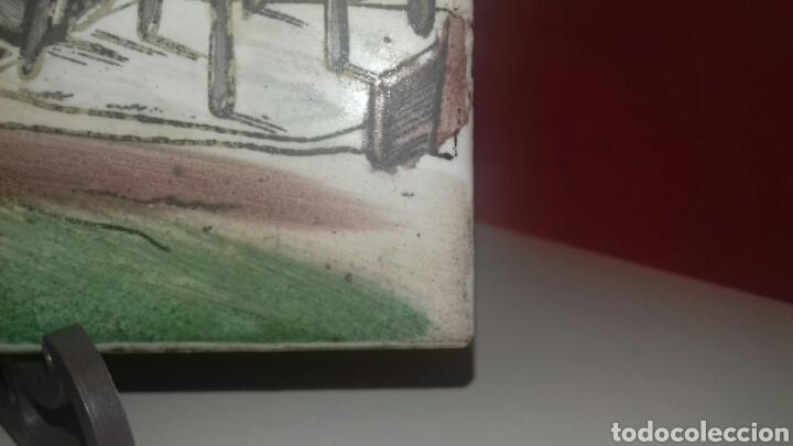 Antigüedades: Muy antiguo azulejo con obra JOSE ARRUE Pintado a mano Años 40 Firma ilegible Pais Vasco - Foto 8 - 97009163