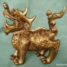 Antigüedades: FIGURA MITOLOGÍA CHINA DE KYLIN / QILIN /QUILIN EN RESINA COLOR BRONCE. Lote 97012107