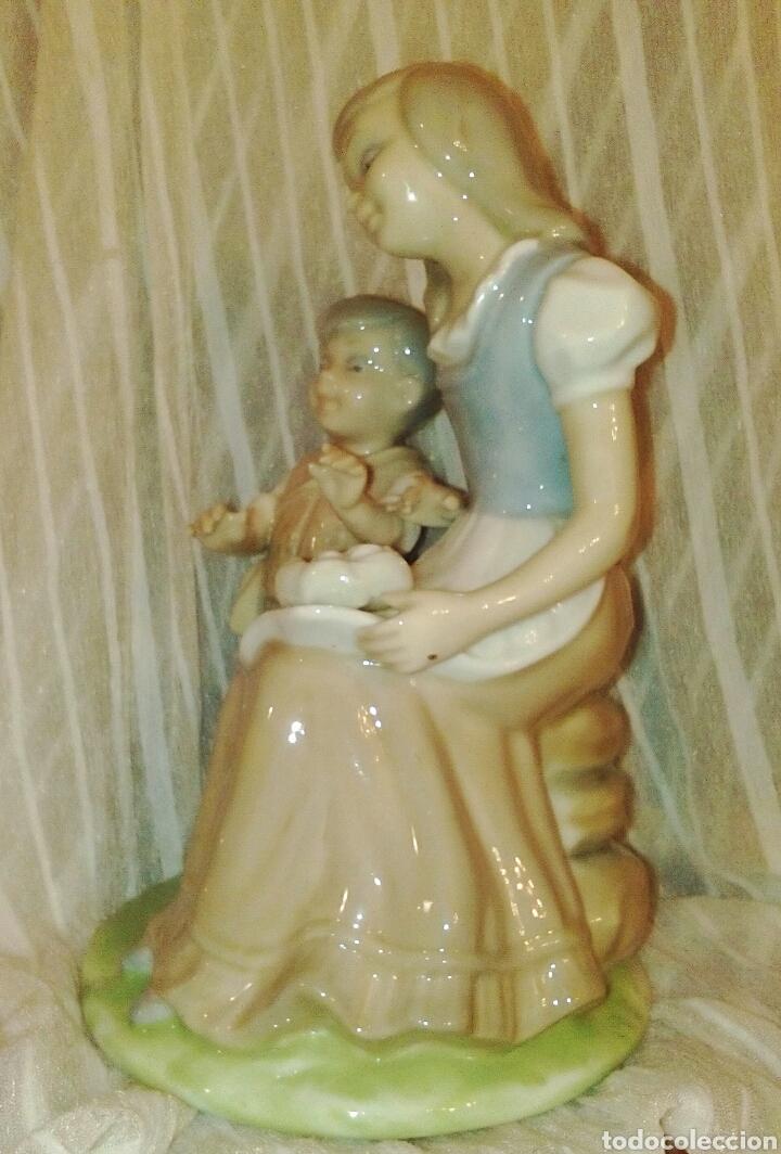 Antigüedades: Figura de porcelanas Tengra Valencia. Niños pastores. - Foto 4 - 97042899