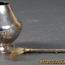 Antigüedades: ACETRE DE PLATA CON HISOPO DE CERDAS PARA BENDECIR SIGLO XIX. Lote 97110495