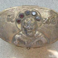 Antigüedades: RELICARIO. RUSIA PLATA DORADA CON GRANATES. SIGLO XIX. 1851. Lote 97110923