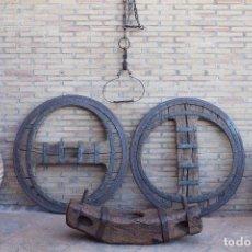 Antigüedades: 2 RUEDAS DE CARRO GALLEGAS. Lote 97110983