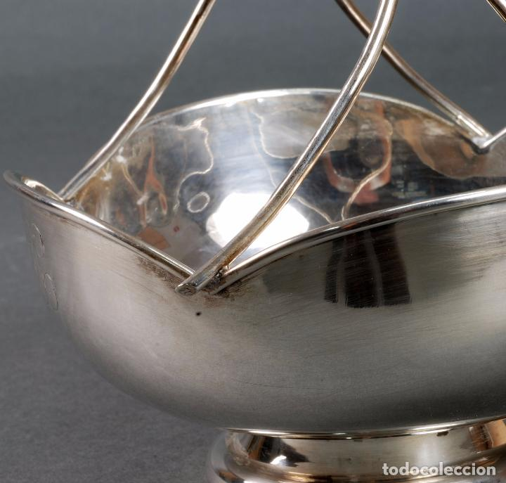 Antigüedades: Centro de mesa plata punzonada en forma de cesta años 40 - Foto 4 - 97111251