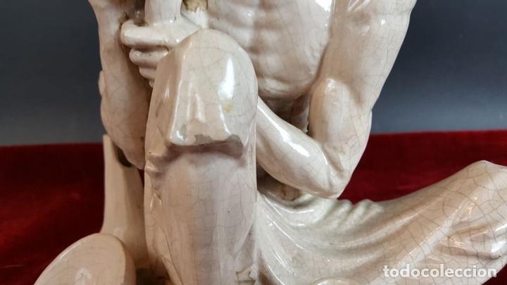 Antigüedades: ASCETA. ESCULTURA EN CERÁMICA ESMALTADA. CIRCA 1950. - Foto 8 - 97129315