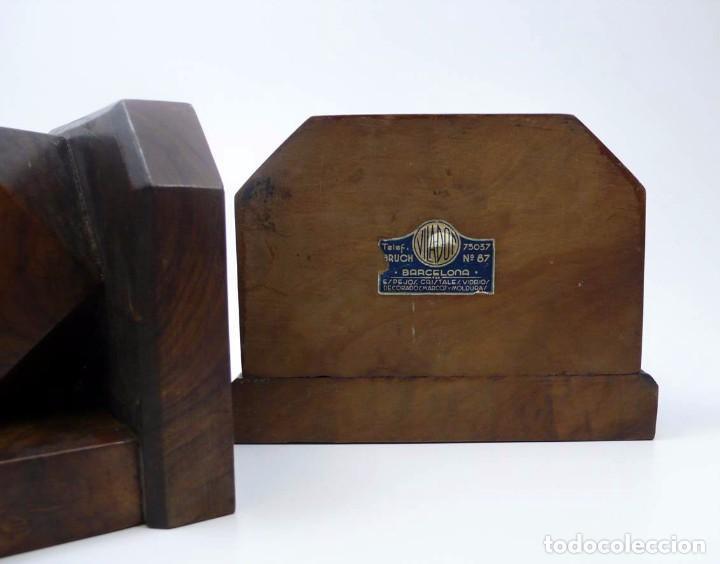 Antigüedades: Pareja de reposa libros en madera de nogal maciza- Art Decó primera mitad S.XX - Foto 8 - 97150979