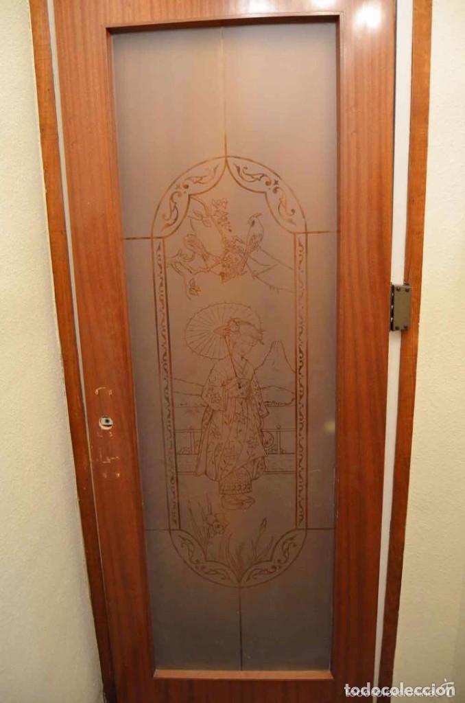 gran puerta cristal con motivos japoneses al ac - Comprar Objetos ...