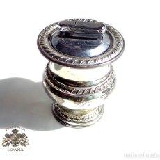 Antigüedades: MECHERO DE PLATA A GAS - 10 CM DE ALTO 6 CM DIÁMETRO PESO 160. Lote 97190307