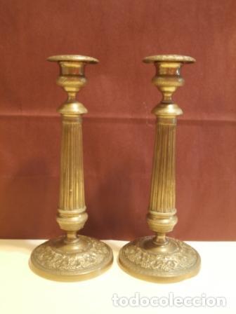 PAREJA DE CANDELEROS FRANCESES (Antigüedades - Iluminación - Candelabros Antiguos)