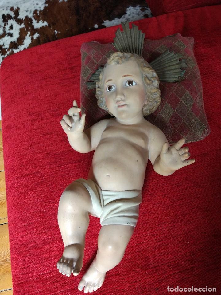 Antigüedades: GRANDIOSO NIÑO DE CUNA /antiguo con ojos de cristal+ 57 cm - Foto 2 - 97202623