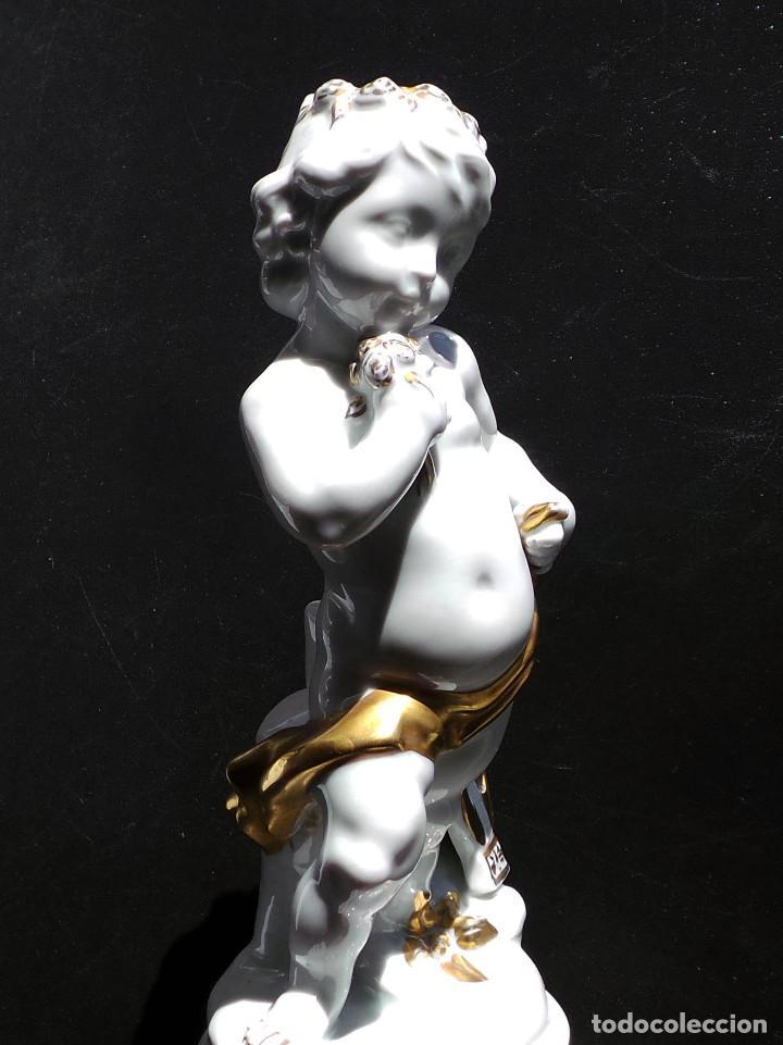 Antigüedades: PRECIOSA FIGURA QUERUBIN ANGELITO DE PORCELANA CH HISPANIA MANISES - PERFECTO ESTADO - 25 CM ALTO - Foto 7 - 97220791