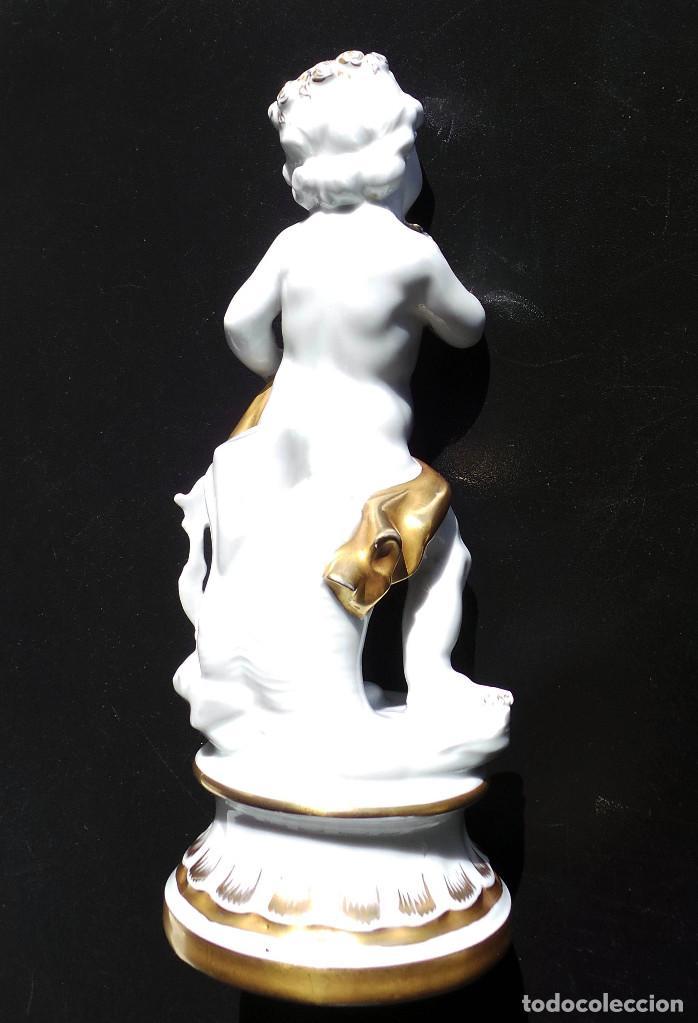 Antigüedades: PRECIOSA FIGURA QUERUBIN ANGELITO DE PORCELANA CH HISPANIA MANISES - PERFECTO ESTADO - 25 CM ALTO - Foto 11 - 97220791