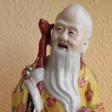 Antigüedades: FIGURA PORCELANA. DIOS CHINO LONGEVIDAD E INMORTALIDAD. SHOU XING. CHINA. PRIMERA MITAD SIGLO XX. . Lote 97229035