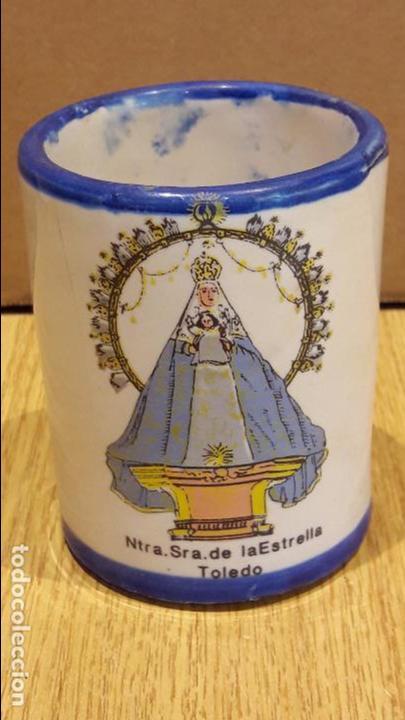 LAPICERO DE CERÁMICA DE TALAVERA. NTRA SRA. DE LA ESTRELLA - TOLEDO / SIN MARCA. 8 X 6 CM. (Antigüedades - Porcelanas y Cerámicas - Talavera)