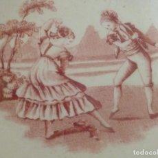 Antigüedades: BACÍA CERAMICA PICKMAN BAILE SEGUIDILLAS, SERIE GÓNDOLA ROSA SEGUN SARGADELOS C. 1860. Lote 97257175
