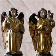 Antigüedades: PRECIOSA PAREJA DE ANGELES MUSICOS DE GRAN CALIDAD Y ACABADO.15CM.MUY DECORATIVOS.. Lote 97258030