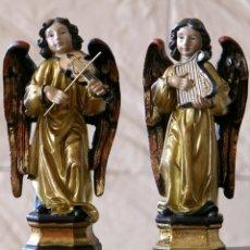 Antigüedades: PRECIOSA PAREJA DE ANGELES MUSICOS DE GRAN CALIDAD Y ACABADO.15CM.MUY DECORATIVOS.. Lote 153473360
