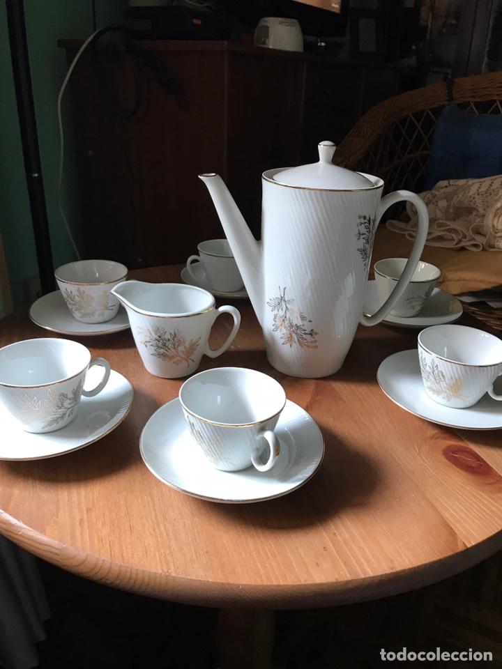 Antigüedades: Juego de café de auténtica porcelana Santa Clara, antiguo - Foto 2 - 97266116