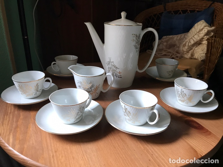 Antigüedades: Juego de café de auténtica porcelana Santa Clara, antiguo - Foto 3 - 97266116