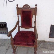 Antigüedades: MUY ANTIGUO (MAS DE 100 AÑOS) E IMPORTANTE SILLO DE ROBLE Y TERCIOPELO, COMPLETO Y BUEN ESTADO. Lote 97268883