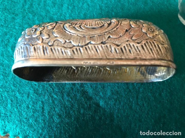 Antigüedades: PETACA EN VIDRIO TALLADO DE ORIGEN RUSO Y PLATA 800 - Foto 6 - 97284579