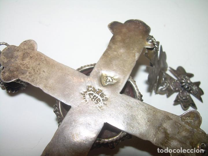 Antigüedades: ANTIGUA Y RARA CRUZ DE FILIGRANA DE PLATA..CON CONTRASTE LEY.925...SIGLO XIX. - Foto 4 - 97303203