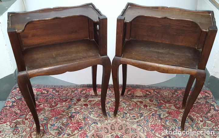 Pareja de mesitas auxiliares madera roble est comprar for Muebles auxiliares clasicos madera
